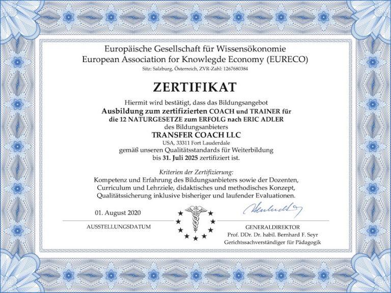 Zertifikat EURECO für 12 NATURGESETZE zum ERFOLG-Coach von TRANSFER COACH